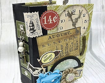 Altered HARDBACK BOOK JOURNAL Planner Organizer Junk Journal Smash Book Scrapbook Art Journal  2 Ring Binder