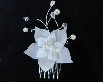 Bridal wedding jewelry ivory silk flower hair comb