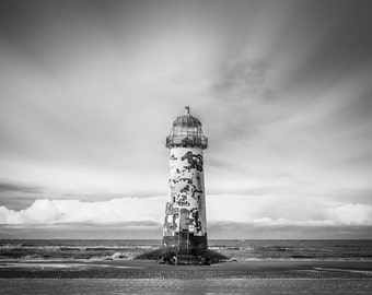 Sailors Saviour. Lighthouse North Wales. Black and White Photography Print.