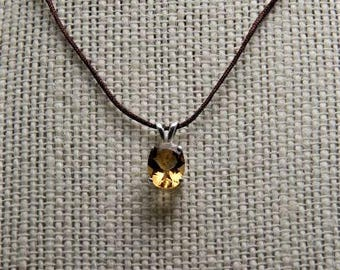 citrine  1.52 ct 9mm / 7mm sterling silver pendant