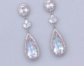 Chandelier Teardrop Bridal Earrings, Crystal Earrings, Big Teardrop Vrystal Earrings, MIRANDA