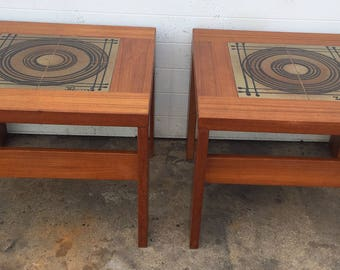 Vintage Artist Signed Tile Top Tables