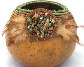 Brown/Green Gourd Bowl -Item 818 by Susan  Ashley