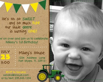 Green Tractor Birthday Invitation