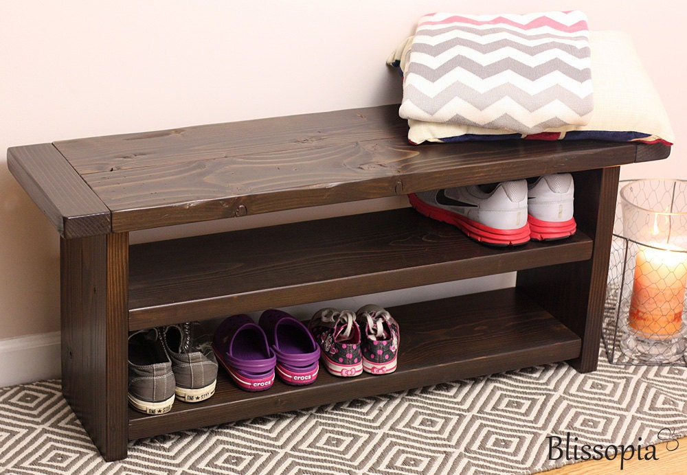 Storage Bench with 2 Shelves Wood Bench Shoe Storage