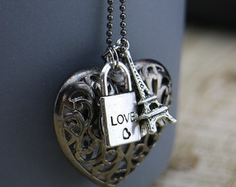 Eiffel Tower, Love lock (Padlock) and Heart w/gunmetal necklace