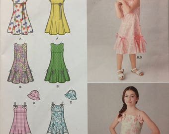 Girls' Dresses and Hat Sewing Pattern Simplicity 1456 Girls' Dress  size 3-6 Uncut and Complete