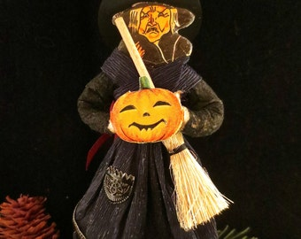 Reproduction German Style Cotton Witch Ornament with Crepe Paper Clothing