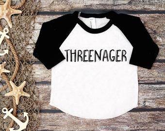 Threenager Shirt; Third Birthday Shirt; 3rd Birthday; 3rd Birthday Shirt; Three;