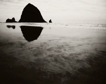 Clearance sale, black and white beach photography, Cannon Beach photo, Haystack Rock print, Pacific Northwest Oregon Coast art, 5x7 print