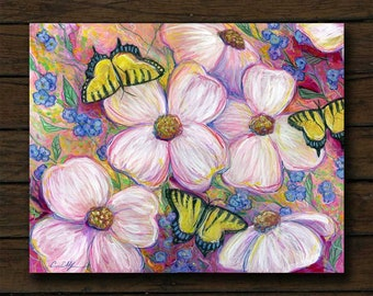 Dogwoods and Butterflies mixed media artwork archival giclée print on cradled board with edges