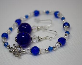 Blue crystal Jewelry set