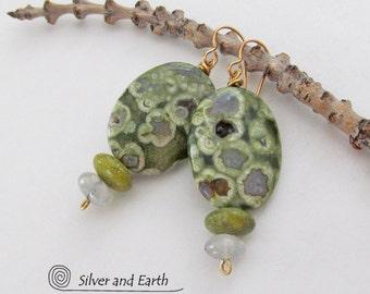 Beaded Earrings with Rainforest Jasper, Serpentine & Quartz, Beadwork Earrings, Natural Stone Jewelry, Green Stone Earrings, Earthy Earrings