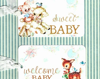 Baby Tags, Gift Tags, Baby Shower, Welcome Baby, Sweet Tags, Birthday, Shower Tags