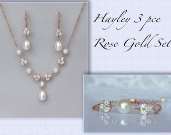 Rose Gold Bridal Set, Rose Gold Jewelry Set, Necklace Earrings & Bracelet Set, HAYLEY RGP