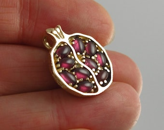Small JUICY POMEGRANATE garnet 14k yellow gold pendant Ready to ship