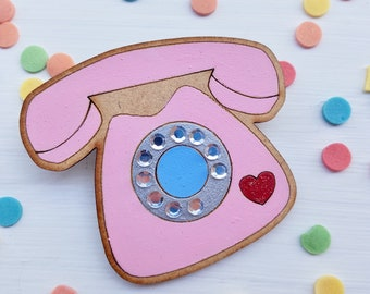 Retro phone brooch, retro phone pin, wooden brooch, kitsch pin, pin up brooch, quirky brooch, rotary dial phone, retro pin, telephone pin