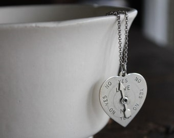 True Love Antique Silver Heart Spinner Necklace on Extra Long Silver Chain - Great for Layering and Love Advice - Spinner Really Spins!