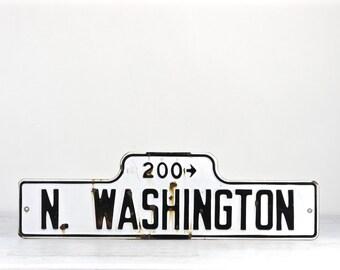Vintage Street Sign, Porcelain Street Sign, Old Street Sign, Street Sign, Black And White Street Sign, Industrial Decor, N Washington Street