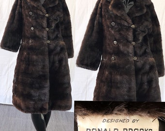 Donald Brooks Mink Mahogany Fur Coat Vintage 60s Coopchik Forrest Mink Coat