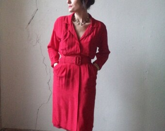 red silk ARGENTI shirt dress with belt// size 6