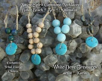 Boho Turquoise colliers ~ Turquoise perle focale choix Azurite, Quartz bleu, Lotus Seed Pyrite ~ cadeau petite amie ~ bijoux Chakra minimaliste