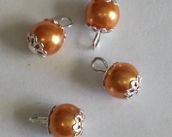 5 pendants beads 8mm glass orange Pearl