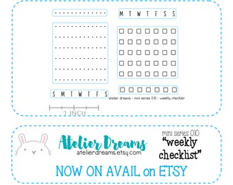 ADM-025 WEEKLY CHECKLIST - Mini - Planner Stamps (Photopolymer Clear Stamps) weekly checklist, reminder stamps, to do