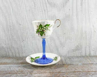 Tea cup wine glass, teacup wine glass, May birthday, lily of the valley, unique wine glass, cottage chic, repurposed, upcycled