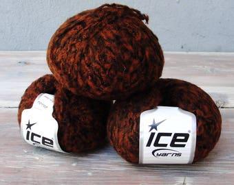 3 balls of Acrylic Mix Yarn, DK weight Yarn, Art Yarn, Knitting projects Orange and Black