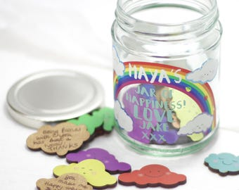Personalised Cloud Rainbow Message Jar with Cloud Tokens