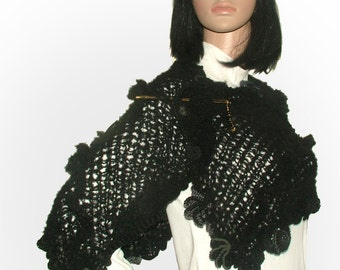 Freestyle Knitted Shawl, Black knitted scarf shawl wrap Stole, Freestyle knit with freeform crochet motifs & glass beads, women's OOAK Scarf