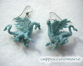 Mythical Creatures - Blue Dragon dangle earrings