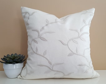 Decorative Pillows, Cream Pillows, White Pillow, Designer Cushions, Textured Pillow Cover, Embroidered, Leaves, Linen, Lumbar, 18, 20, NEW