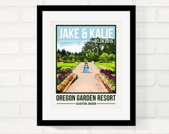 Wedding Gift for Couple, Custom Location Poster, Vintage Travel Poster Style, First Anniversary Gift, Honeymoon Keepsake Garden Park Wedding