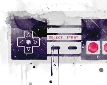 Nintendo Controllers Art Print Video Game Poster Watercolor Style Design