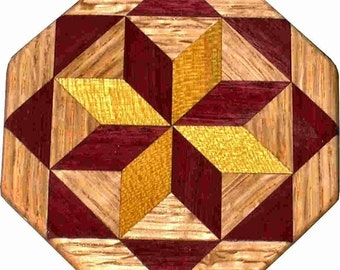 Satinwood-Purpleheart-Oak Trivet