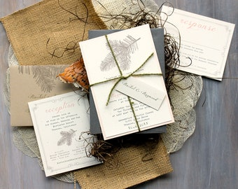 "Rustic Elegant Wedding Invitations, Peach Wedding Invitations, Rustic Wedding Invitations, Romantic Wedding Invitaitons - ""Moss Tree"" Sample"