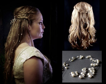 9 Baroque Rosebud Druzy Pearl & Crystal Hair Vines Bohemian Veil Game Of Thrones Reign Renaissance Wedding Medieval Costume Hair Extensions
