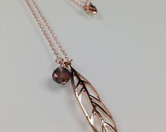 Necklace rose gold, rose leaf metal