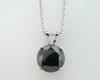 3 Carat Black Diamond Solitaire Pendant Necklace 14K White Gold Handmade