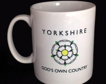 Yorkshire Mug - Yorkshire Rose Mug - God's Own Country- White Rose Mug - Yorkshire Souvenir - Yorkshire Gift