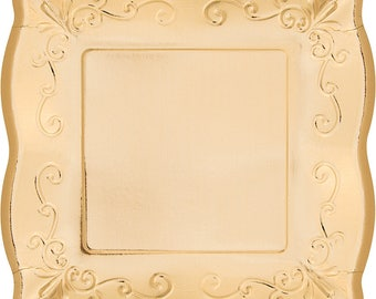 48 Gold Embossed Paper Plates ~ 10\  or 7\  Square ~ Scalloped Pottery Look  sc 1 st  Etsy & 48 Pink Embossed Paper Plates 10 or 7 Square