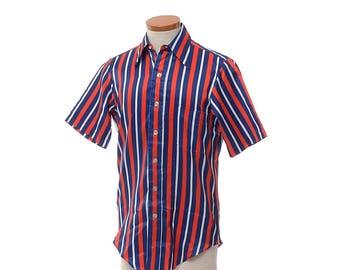 Vintage 70s Arrow Ultressa Disco Shirt 1970s Mod Carnival Stripe Print Pimp Boogie Nights Saturday Fever Polyester Club Shirt / Mens S