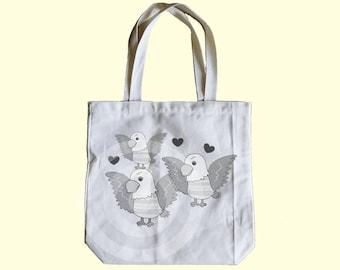 Eagle tote bag 13x13x3 inches - Shopping tote bag - Children tote bag - Book tote bag