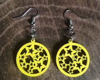 Wood Star Earrings - Yellow Lightweight Dangle Earrings - Makes a Great Gift!