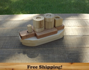 Wooden Boat Puzzle, Developmental Learning Building Toy, Finished or Unfinished Wooden Toy Boat.