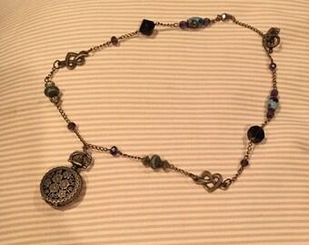 Antique Flowers Mini Watch Necklace