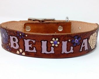 Custom Leather Collar - Girl Dog Collars - Flower Collars