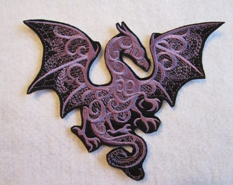 Embroidered Winged Dragon Iron On Patch, Dragon Patch, Dragon Applique, Iron On Patch, Mythical Dragon, Dragons